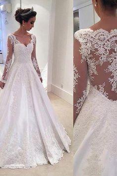 Vitange Wedding Dress, New Vestido De Novia, Lace Beaded A-line Wedding Dresses, Sweetheart Lace Trim Sheer Elegant Bridal Gowns, Long Sleeves Wedding Dresses