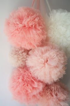 Girlish Soft Tulle Pompoms by AylinkaShop on Etsy