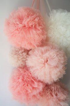 Girlish Soft Tulle Pompoms by AylinkaShop on Etsy