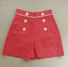 Hey, I found this really awesome Etsy listing at https://www.etsy.com/listing/227694416/red-polka-dot-sailor-pin-up-shorts-by