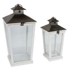 """Set of 2 Cottage Style Wood Lanterns - 21"""" and 16"""""""