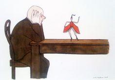 Nicholas Heidelbach. Buchtanz  Tusche / Aquarell auf Papier, 2003  23 x 18 cm (9 x 7 in)