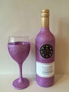Glitter Wine Bottle With Glass #duskypink #threemills #swarovski
