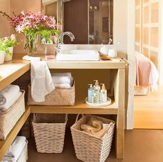 Beautiful Bathroom Cabinet Storage Designs - Best Small Bathroom Storage Ideas: Creative Bathroom Organization and Cute Storage Solutions Bathroom Storage Solutions, Small Bathroom Storage, Bathroom Organization, Organization Ideas, Storage Shelves, Storage Spaces, Storage Ideas, Cabinet Storage, Open Shelves