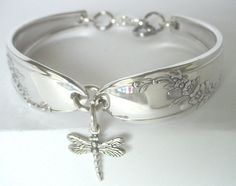 Spoon Bracelet  Ornate Antique Pattern- Queen Bess with sterling silver dragonfly charm- unique silverware jewelry.. $26.00, via Etsy.