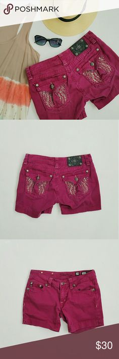 Miss Me || Embellished Jean Shorts Miss Me embellished jean shorts - burgundy.  With side slit.   Note:  Few rhinestones are missing on back pockets,  see picture four. Shorts Jean Shorts
