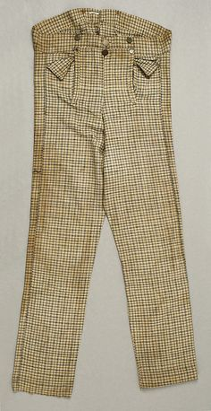 "Fall Front trousers with ""mule ear"" pockets  circa 1835    more images at the link"