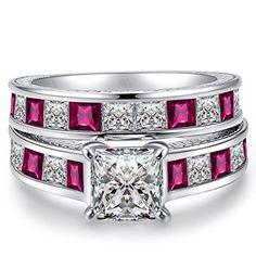 FENDINA Women's Princess Shape Diamond Cut Bridal Sets Wedding Rings 18K White Gold Plated Pink Sapphire CZ Wedding Engagement Best Promise for Her 2 PCS - http://www.jewelryfashionlife.com/fendina-womens-princess-shape-diamond-cut-bridal-sets-wedding-rings-18k-white-gold-plated-pink-sapphire-cz-wedding-engagement-best-promise-for-her-2-pcs/