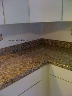 "Faux granite painted countertops!  I'm doing this in our kitchen and can't wait to see the results!  This blog has awesome ""how to"" instructions and a video."