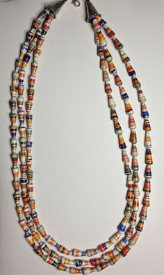 Rainbow Three Strand Cone Paper Bead Necklace by PaperRoseJewelry, $52.00