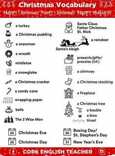 Vocabulary Matching Worksheet  Xmas  CHRISTMAS  Pinterest