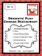 Dramatic Play Chinese Restaurant Theme for Preschool