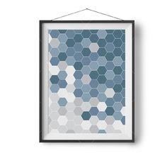 Denim Blue Art, Printable Art, Geometric, Scandinavian Art, Honeycomb Print, Abstract Print, Modern, Digital Download, Blue Home Decor