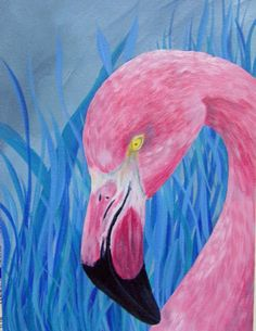 How to Paint a Blue Grass Pink Flamingo in Acrylics Beginners Painting S...