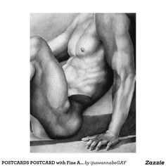 POSTCARDS POSTCARD with Original Fine Art Drawing of a Body Builder. Cool gift idea! $2.45