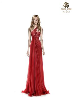Roberto Cavalli sketches for Bar Refaeli at #Sanremo 2013 - Red one-shoulder mousseline silk gown with high slit on the front.