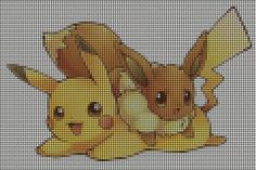Eevee and Pikachu Cross Stitch - Link to loads of Pokemon Cross Stitch Patterns