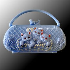 Vintage Miniature Blue Purse with Kittens Rare Doll or Childs Purse