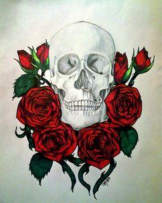 Skull and Roses by JupiterStone