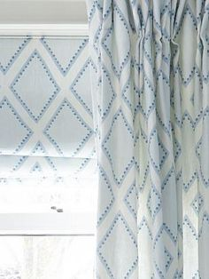 Blue Hues - White and soft blue curtains detail Bathroom Window Curtains, Bathroom Window Treatments, Bedroom Drapes, Bedroom Decor, Master Bedroom, Bedrooms, White Bedroom, Master Bath, Bedroom Ideas