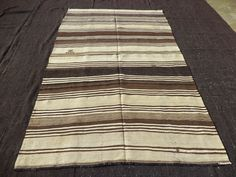 Kilim Feet Cm Brown And Cream Stripe Turkish Kilim Rug,Flat Weave Woven Anatolian Kilim Kelim Rug,Natural Wool Rug. Natural Rug, Floor Decor, Turkish Kilim Rugs, Carpet Runner, Rug Making, Wool Rug, Weaving, Flat, Cream