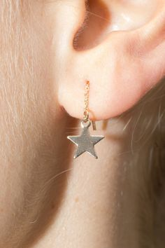 Gold star charm earrings with a small chain drop with a clear backing. All accessories are final sale. Star Earrings, Silver Hoop Earrings, Drop Earrings, Bh Cosmetics, Gold Stars, Gold Chains, Jewelry Accessories, Chokers, Mini