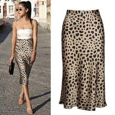 Check out all our leopard print fashion Jupe Midi Leopard, Leopard Skirt Outfit, Skirt Outfits, Satin Skirt, Silk Skirt, Dress Skirt, Silk Dress, Animal Print Skirt, Leopard Print Skirt