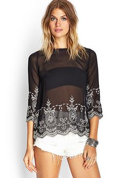 Find basic tees, flowy tops, tunics, crop tops and Black And White Blouse, Black Tops, White Lace, See Through Clothes, Sexy Blouse, Basic Tees, Flowy Tops, Crop Tops, Fashion 2017