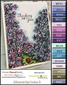 French Lilac Digital Stamp by Power Poppy, Card Design by Rhea Weigand.