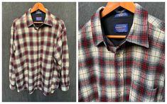 Vintage Pendleton Shirt Wool Plaid Men's Button Down | Etsy Pendleton Shirts, Pendleton Woolen Mills, White Man, Red And White, Cobbler Aprons, Vintage Shirts, Black Sweaters, Down Shirt, Tunic Tops