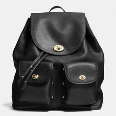 Coach Turnlock Tie Rucksack ($495) ❤ liked on Polyvore featuring bags, backpacks, accessories, black, slouchy backpack, leather knapsack, slouchy leather bag, leather daypack and slouch backpack