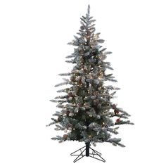 Flocked McKinley Pine Pre-Lit Full Christmas Tree by Sterling Tree Company - 5832--75C