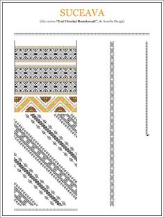 Semne Cusute: model de ie din BUCOVINA, Suceava Embroidery Sampler, Folk Embroidery, Modern Embroidery, Embroidery Patterns, Cross Stitch Patterns, Machine Embroidery, Knitting Patterns, Simple Cross Stitch, Antique Quilts