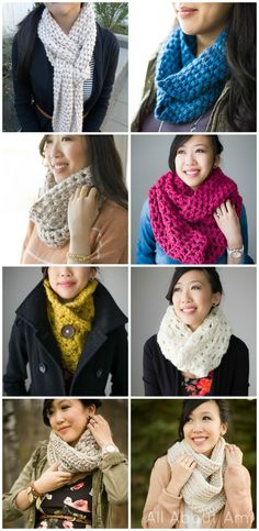 Round-up of all the Cowls/Scarves I've designed since starting my blog!  All FREE patterns :)