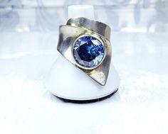 Old Mid Century Sterling Silver Art Moderne Blue Quartz Artisan JM Size 7 Ring #Studio #Abstract #MJS #ModerneBandRing #celebritystylering #Jewelry #instajewelry #jewelryforsale #musthave #style #handmadejewelry