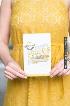yellow and gray wedding invite | VIA #WEDDINGPINS.NET