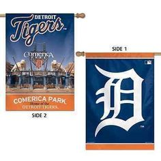 """DETROIT TIGERS COMERICA PARK 28""""X40"""" DOUBLE SIDED BANNER FLAG BRAND NEW WINCRAFT"""