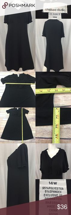 🌷Size 14W Chelsea Studio V-neck Knee Length Dress Measurements are in photos. Normal wash wear, no flaws. B2/27  I do not comment to my buyers after purchases, due to their privacy. If you would like any reassurance after your purchase that I did receive your order, please feel free to comment on the listing and I will promptly respond. I ship everyday and I always package safely. Thanks! Chelsea Studio Dresses Midi