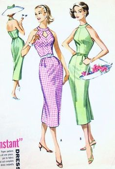 1950s Bombshell Halter Dress Pattern McCall's 4070 Slim Cocktail Party Dress Cutout Neckline Version Bust 32 Vintage Sewing Pattern FACTORY FOLDED