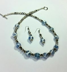 Baby Blue and White Faceted Agates with Silver Crystals Necklace and Earrings by BethMannJewelry on Etsy