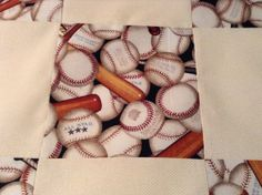 Unfinished baseball quilt top by pamfarago on Etsy, $25.00