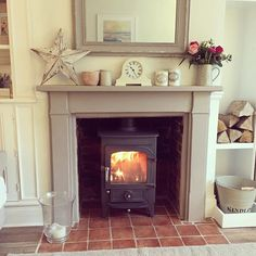 Great Pics Electric Fireplace stove Ideas Cosy fire ~ lovingly pinned by www. Wood Burner Fireplace, Inglenook Fireplace, Victorian Fireplace, Stove Fireplace, Fireplace Design, Fireplace Inserts, Fireplace Mantels, Navy Living Rooms, Living Room Decor