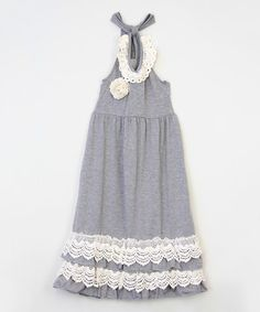 Another great find on #zulily! Gray Ruffle Halter Dress - Infant, Toddler & Girls #zulilyfinds