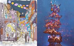 Some pieces of concept art for Pixar's Coco