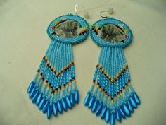 Native American Style Rosette Beaded Horse Earrings by DebsVisions