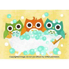 193B Bright Three Owls in Bathtub 5x7 Print by leearthaus on Etsy, $15.00