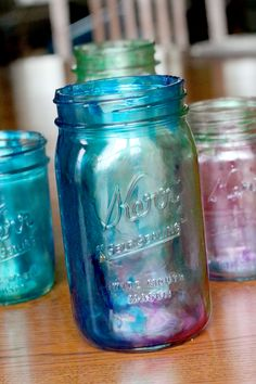 Marbleized tinted Mason jars - Learn how to tint Mason jars -- simple enough for the kids to do.