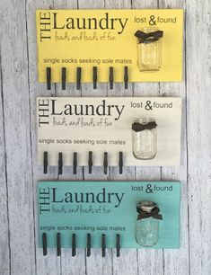 Laundry room sign with single sock clothespins and a lost and found change jar! #organization #organizing #homedecor #homedesign #homedecoration #homedecorideas #homesweethome #homestyle #country #farmhouse #farmhousestyle #farmhousedecor #rusticdecor #commissionlink