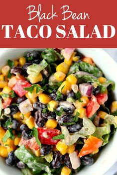 Black Bean Taco Salad Black Bean Taco Salad Recipe - a lighter version of the classic taco salad. Packed with vegetables and black beans in place of chicken for protein. The dressing is simply irresistible! Veggie Taco Salad, Vegetarian Taco Salad, Taco Salad Recipes, Veggie Recipes, Mexican Food Recipes, Vegetarian Recipes, Fruit Salad, Healthy Recipes, Black Bean Taco Salad Recipe