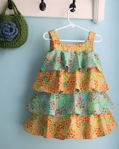 Sewing dress patterns ruffles 68 ideas for 2019 Kids Frocks, Frocks For Girls, Dresses Kids Girl, Little Girl Outfits, Baby Outfits, Little Girl Dresses, Kids Outfits, Children Dress, Children Clothing